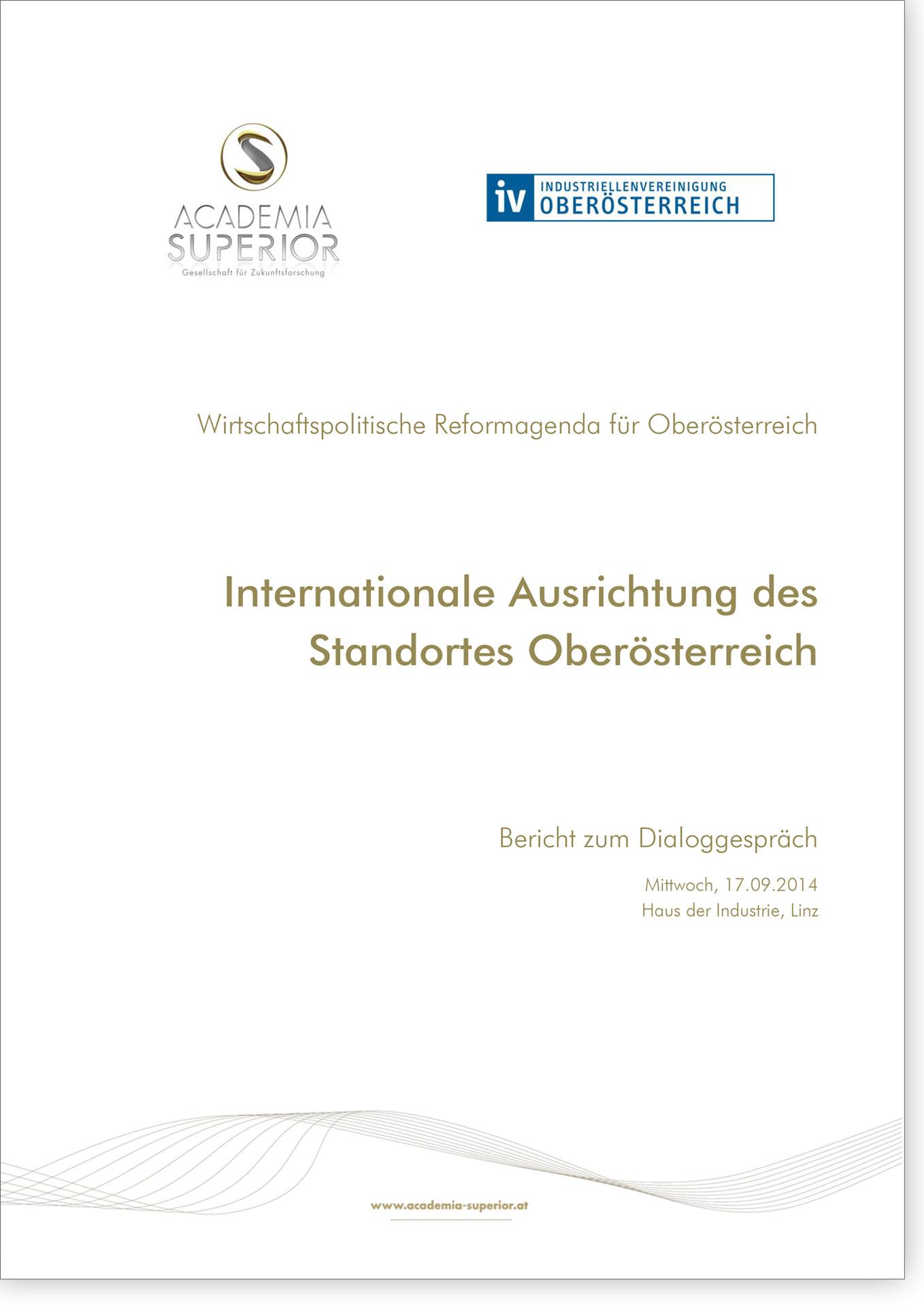 Cover Bericht Dialoggespräch Internationale Ausrichtung des Standortes Oberösterreich
