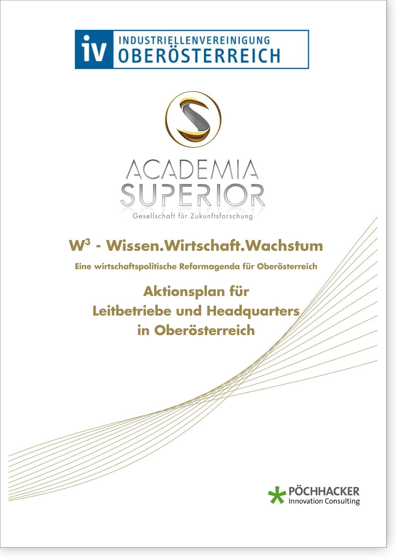 Cover W3 Aktionsplan für Leitbetriebe und Headquarters in Oberösterreich
