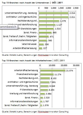 Top 10-Branchen nach Anzahl der Unternehmen und Mitarbeiter 2011
